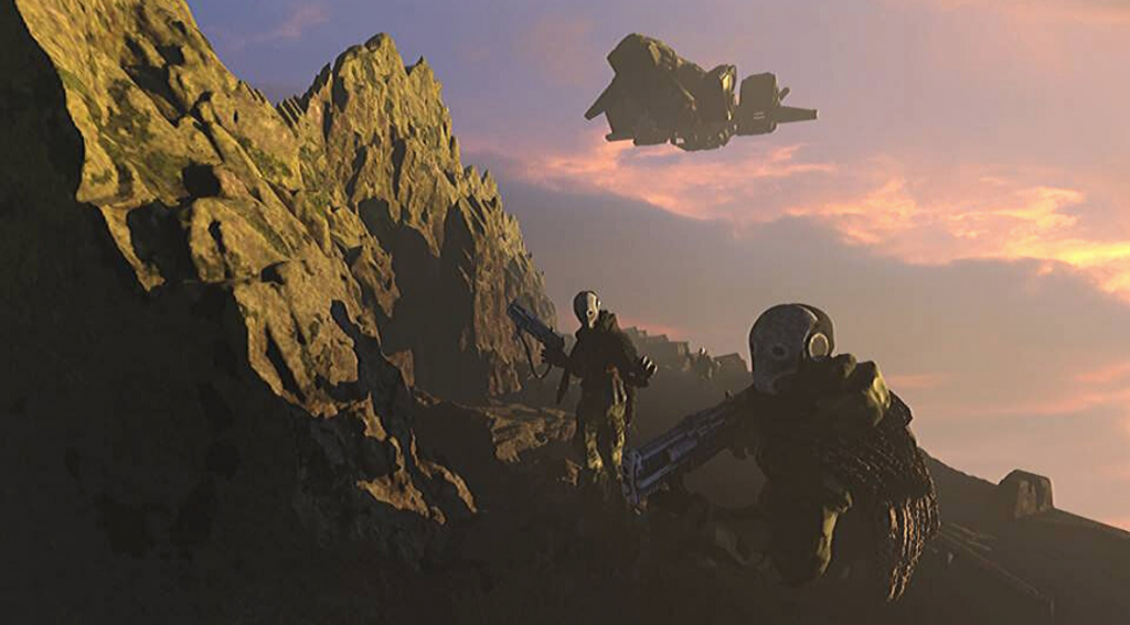 Patrolling soldiers concept art by Ian Crighton